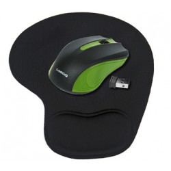 RATON WIRELESS OMEGA + ALFOMBRILLA VERDE/NEGRO